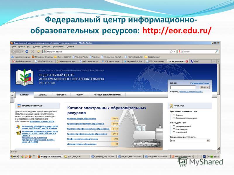 Федеральный центр информационно- образовательных ресурсов: http://eor.edu.ru/