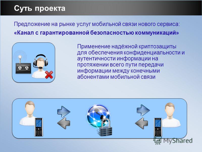 Суть проекта Применение надёжной криптозащиты для обеспечения конфиденциальности и аутентичности информации на протяжении всего пути передачи информации между конечными абонентами мобильной связи Предложение на рынке услуг мобильной связи нового серв
