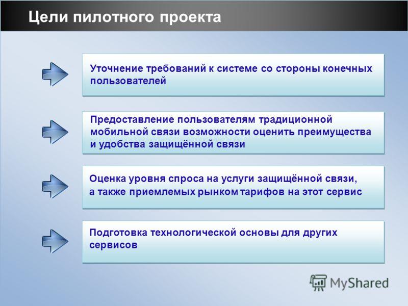 Цели пилотного проекта Предоставление пользователям традиционной мобильной связи возможности оценить преимущества и удобства защищённой связи Уточнение требований к системе со стороны конечных пользователей Оценка уровня спроса на услуги защищённой с