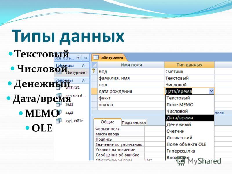 Типы данных Текстовый Числовой Денежный Дата/время МЕМО OLE