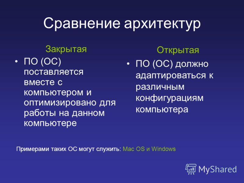 Сравнение архитектур Закрытая ПО (ОС) поставляется вместе с компьютером и оптимизировано для работы на данном компьютере Открытая ПО (ОС) должно адаптироваться к различным конфигурациям компьютера Примерами таких ОС могут служить: Mac OS и Windows