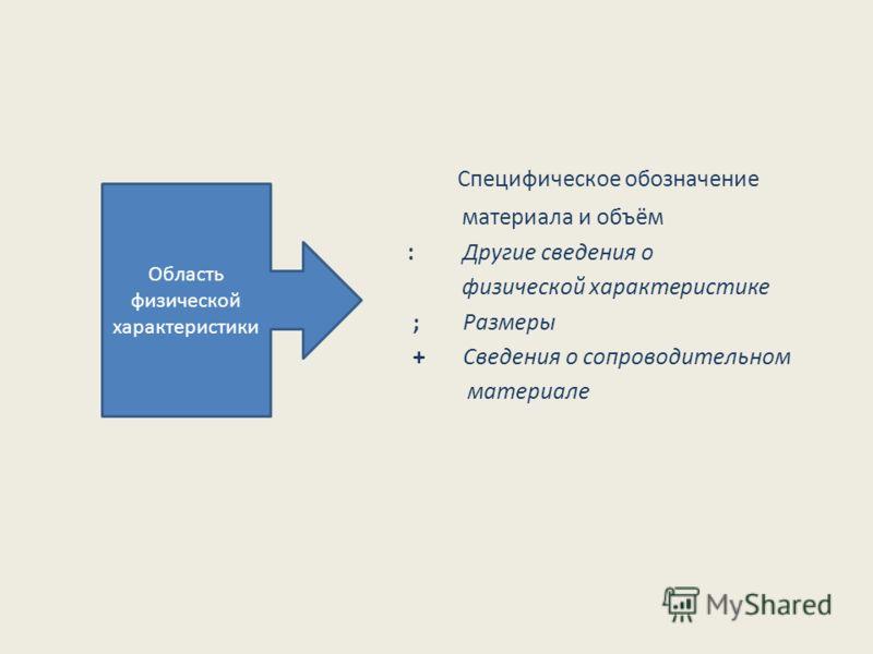 Специфическое обозначение материала и объём : Другие сведения о физической характеристике ; Размеры + Сведения о сопроводительном материале Область физической характеристики