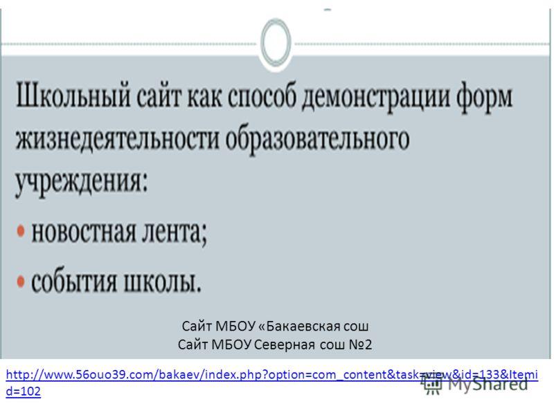 Сайт МБОУ «Бакаевская сош Сайт МБОУ Северная сош 2 http://www.56ouo39.com/bakaev/index.php?option=com_content&task=view&id=133&Itemi d=102