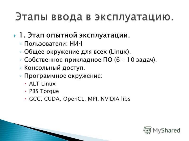 1. Этап опытной эксплуатации. Пользователи: НИЧ Общее окружение для всех (Linux). Собственное прикладное ПО (6 – 10 задач). Консольный доступ. Программное окружение: ALT Linux PBS Torque GCC, CUDA, OpenCL, MPI, NVIDIA libs