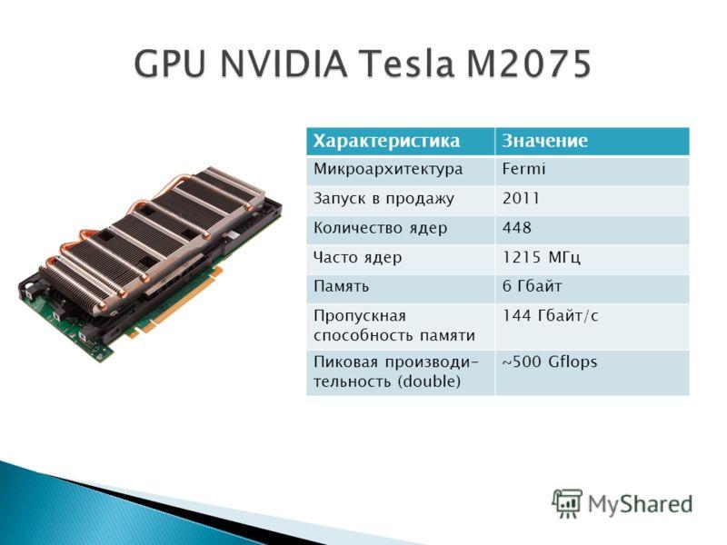 ХарактеристикаЗначение МикроархитектураFermi Запуск в продажу2011 Количество ядер448 Часто ядер1215 МГц Память6 Гбайт Пропускная способность памяти 144 Гбайт/с Пиковая производи- тельность (double) ~500 Gflops