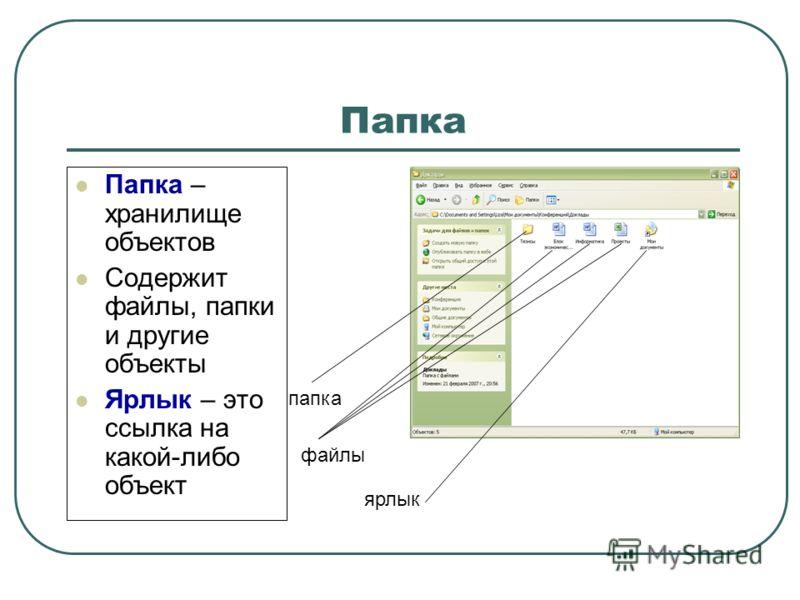 Папка Папка – хранилище объектов Содержит файлы, папки и другие объекты Ярлык – это ссылка на какой-либо объект папка файлы ярлык