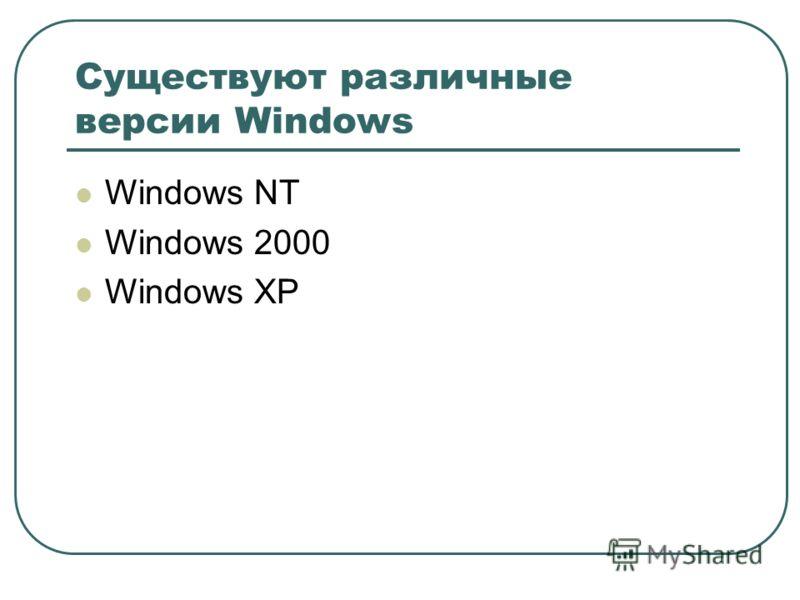 Существуют различные версии Windows Windows NT Windows 2000 Windows XP