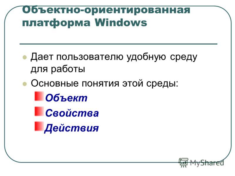 Объектно-ориентированная платформа Windows Дает пользователю удобную среду для работы Основные понятия этой среды: Объект Свойства Действия