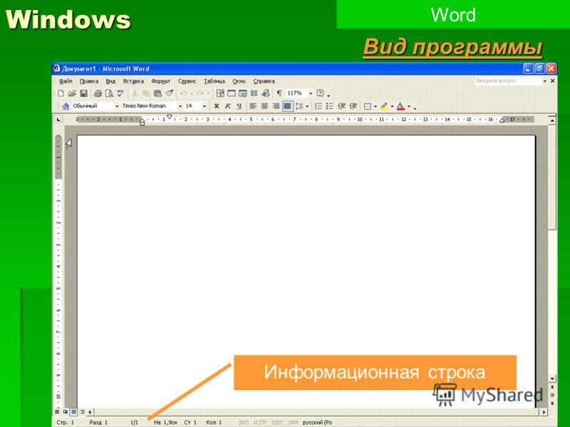 6Windows Word Вид программы Информационная строка