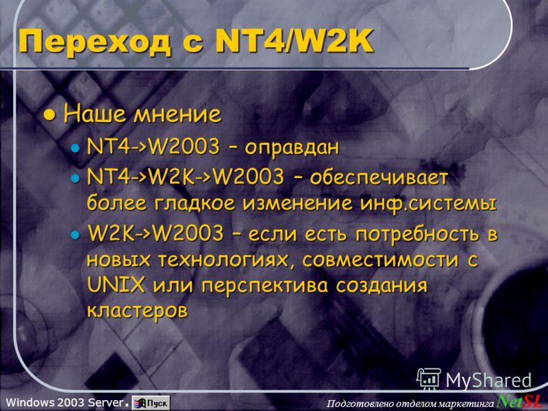 Подготовлено отделом маркетинга NetSL Windows 2003 Server. Переход с NT4/W2K Наше мнение Наше мнение NT4->W2003 – оправдан NT4->W2003 – оправдан NT4->W2K->W2003 – обеспечивает более гладкое изменение инф.системы NT4->W2K->W2003 – обеспечивает более г