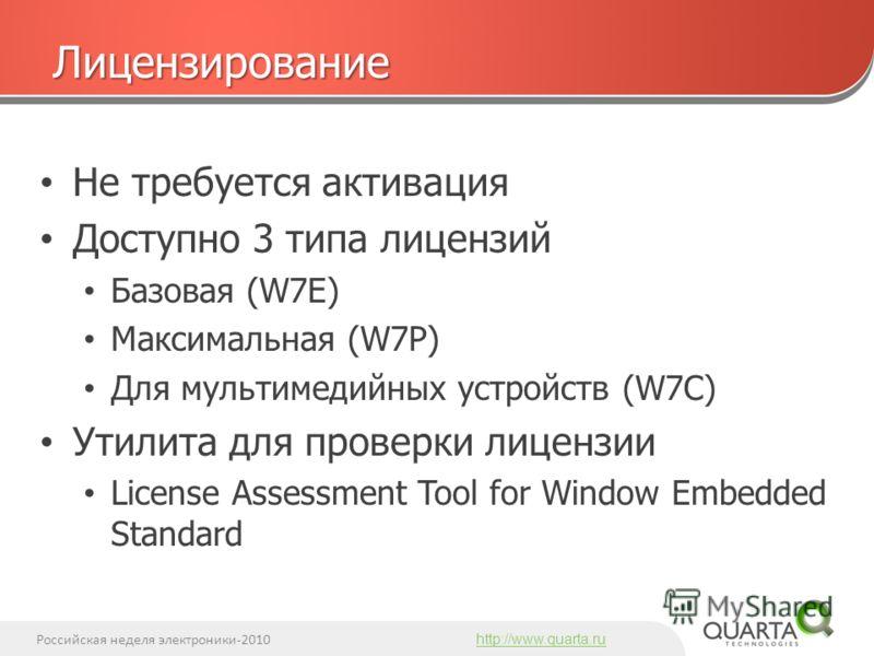 Российская неделя электроники-2010 http://www.quarta.ru Не требуется активация Доступно 3 типа лицензий Базовая (W7E) Максимальная (W7P) Для мультимедийных устройств (W7C) Утилита для проверки лицензии License Assessment Tool for Window Embedded Stan