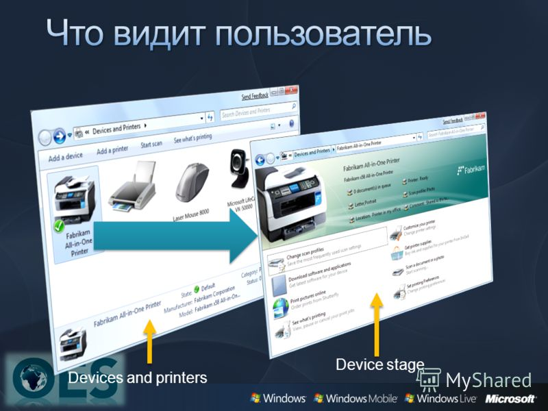 Devices and printers Device stage