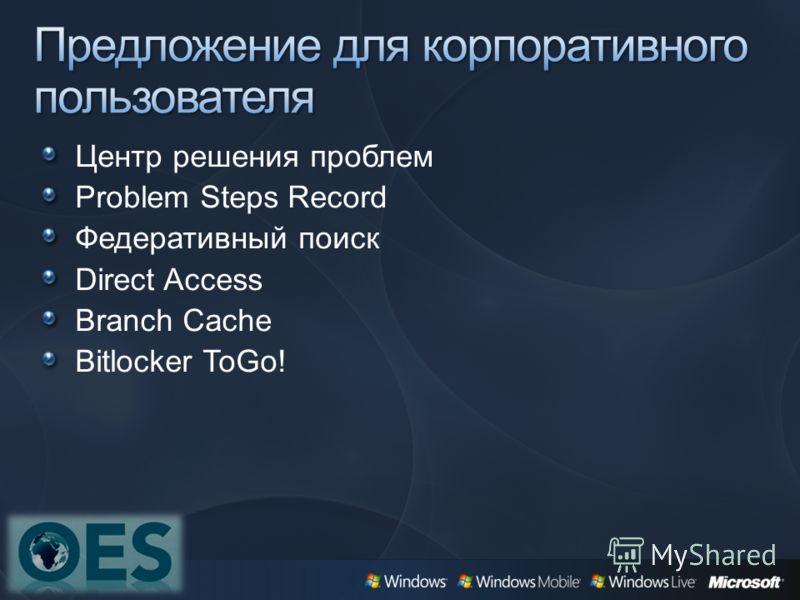 Центр решения проблем Problem Steps Record Федеративный поиск Direct Access Branch Cache Bitlocker ToGo!