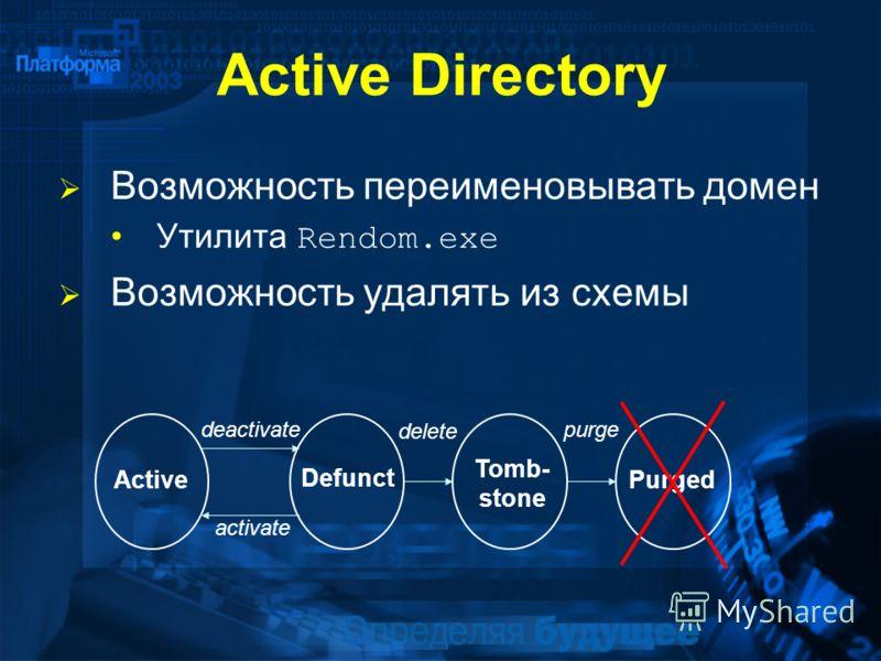 Active Directory Возможность переименовывать домен Утилита Rendom.exe Возможность удалять из схемы purge delete activate deactivate Active Defunct Tomb- stone Purged