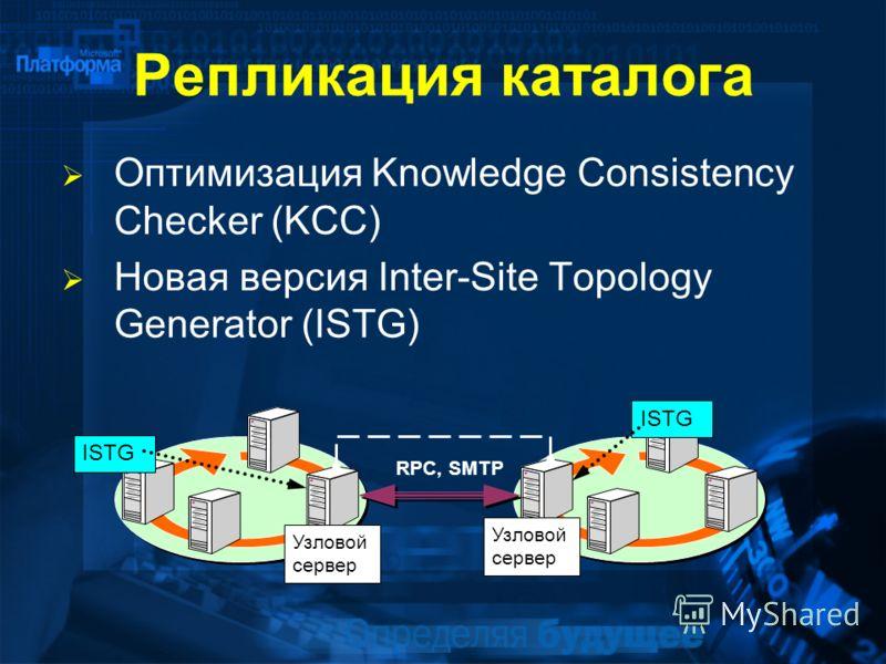 Репликация каталога Оптимизация Knowledge Consistency Checker (KCC) Новая версия Inter-Site Topology Generator (ISTG) Узловой сервер ISTG RPC, SMTP