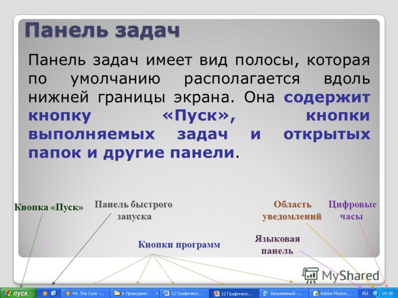 Панель задач Панель задач имеет вид полосы, которая по умолчанию располагается вдоль нижней границы экрана. Она содержит кнопку «Пуск», кнопки выполняемых задач и открытых папок и другие панели. Кнопка «Пуск» Панель быстрого запуска Кнопки программ О