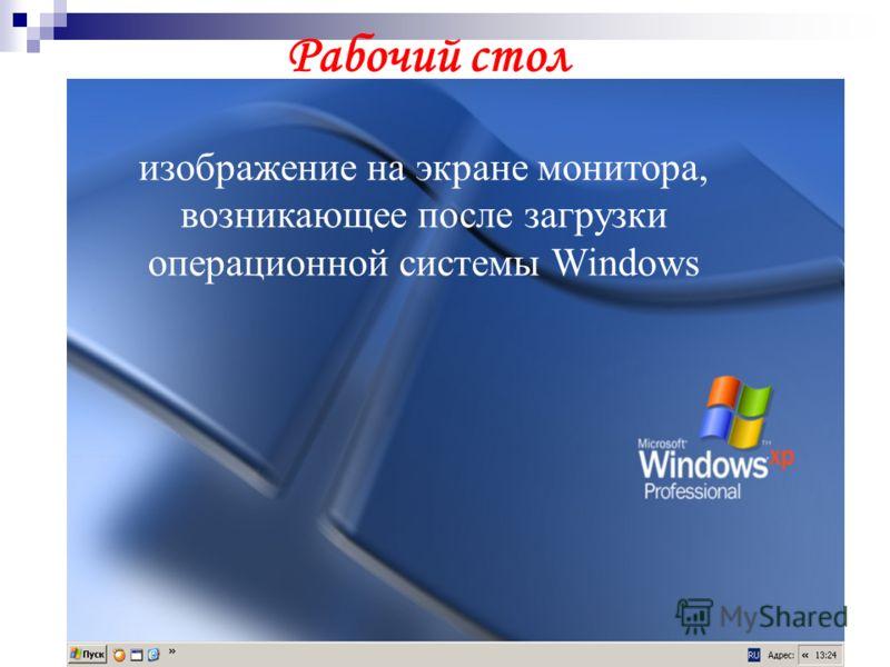 изображение на экране монитора, возникающее после загрузки операционной системы Windows Рабочий стол