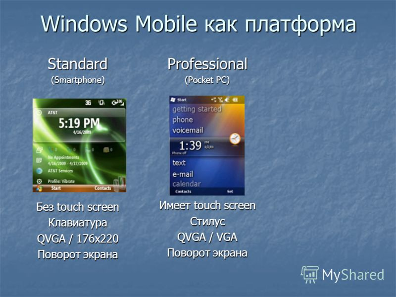 Professional (Pocket PC) Имеет touch screen Стилус QVGA / VGA Поворот экрана Windows Mobile как платформа Standard(Smartphone) Без touch screen Клавиатура QVGA / 176x220 Поворот экрана