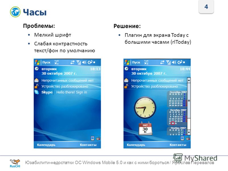 4 Часы Юзабилити-недостатки ОС Windows Mobile 5.0 и как с ними бороться / Ярослав Перевалов Проблемы: Мелкий шрифт Слабая контрастность текст/фон по умолчанию Решение: Плагин для экрана Today с большими часами (rlToday)