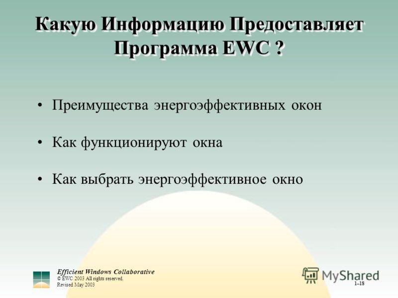 Efficient Windows Collaborative © EWC 2003 All rights reserved. Revised May 2003 1–18 Какую Информацию Предоставляет Программа EWC ? Преимущества энергоэффективных окон Как функционируют окна Как выбрать энергоэффективное окно