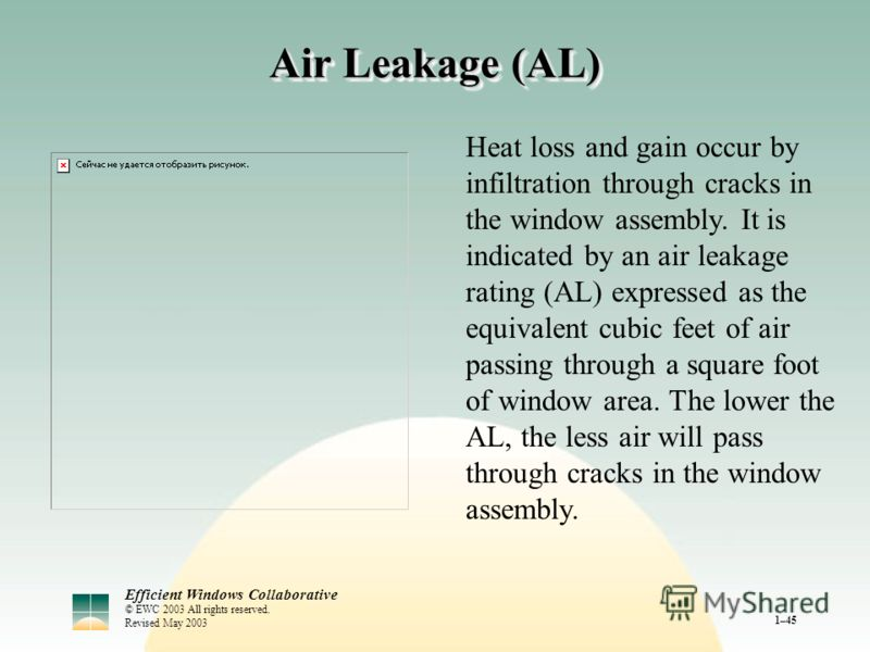 Efficient Windows Collaborative © EWC 2003 All rights reserved. Revised May 2003 1–45 Air Leakage (AL) Heat loss and gain occur by infiltration through cracks in the window assembly. It is indicated by an air leakage rating (AL) expressed as the equi