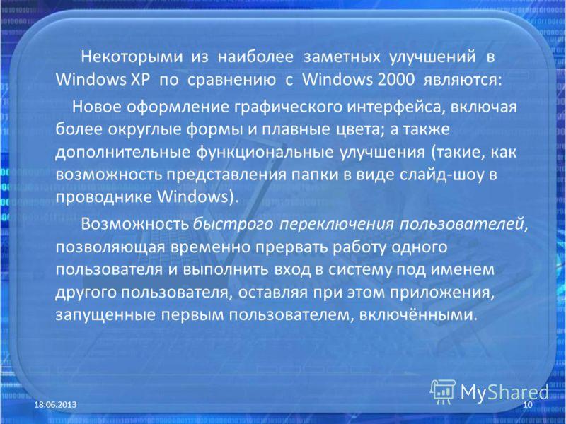 Некоторыми из наиболее заметных улучшений в Windows XP по сравнению с Windows 2000 являются: Новое оформление графического интерфейса, включая более округлые формы и плавные цвета; а также дополнительные функциональные улучшения (такие, как возможнос