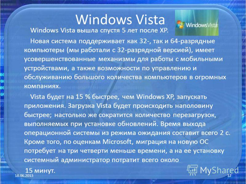 Windows Vista Windows Vista вышла спустя 5 лет после XP. Новая система поддерживает как 32-, так и 64-разрядные компьютеры (мы работали с 32-разрядной версией), имеет усовершенствованные механизмы для работы с мобильными устройствами, а также возможн