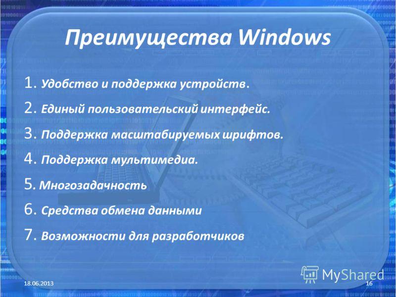 Преимущества Windows 1. Удобство и поддержка устройств. 2. Единый пользовательский интерфейс. 3. Поддержка масштабируемых шрифтов. 4. Поддержка мультимедиа. 5. Многозадачность 6. Средства обмена данными 7. Возможности для разработчиков 18.06.201316