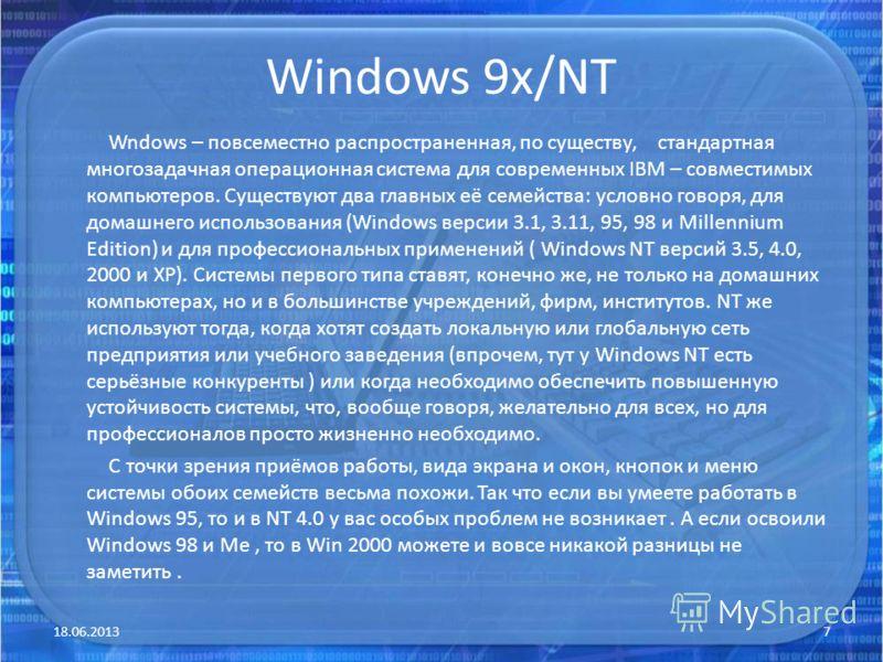 Windows 9x/NT Wndows – повсеместно распространенная, по существу, стандартная многозадачная операционная система для современных IBM – совместимых компьютеров. Существуют два главных её семейства: условно говоря, для домашнего использования (Windows