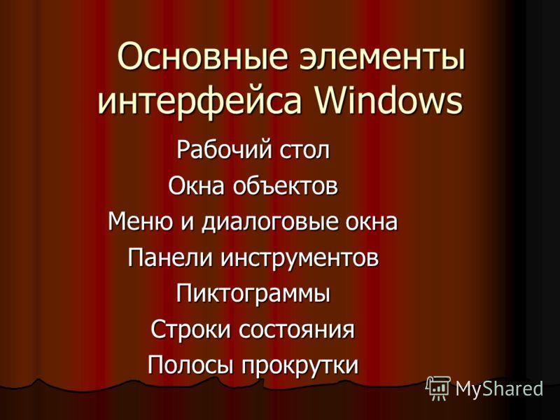 Основные элементы интерфейса Windows Основные элементы интерфейса Windows Рабочий стол Окна объектов Меню и диалоговые окна Панели инструментов Пиктограммы Строки состояния Полосы прокрутки