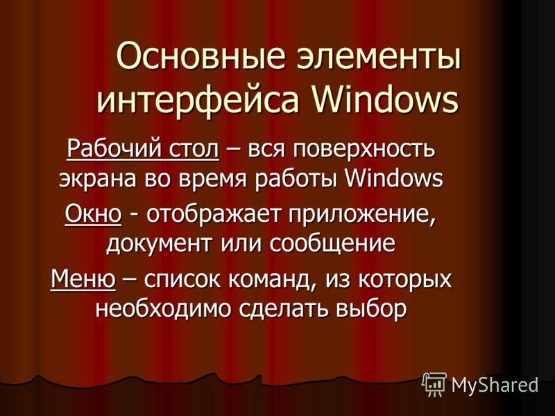 Основные элементы интерфейса Windows Основные элементы интерфейса Windows Рабочий стол – вся поверхность экрана во время работы Windows Окно - отображает приложение, документ или сообщение Меню – список команд, из которых необходимо сделать выбор
