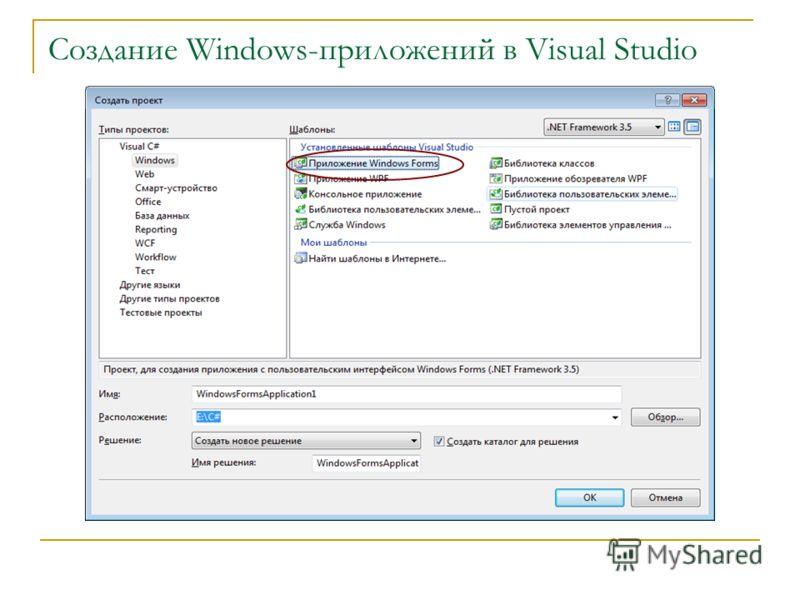 Создание Windows-приложений в Visual Studio
