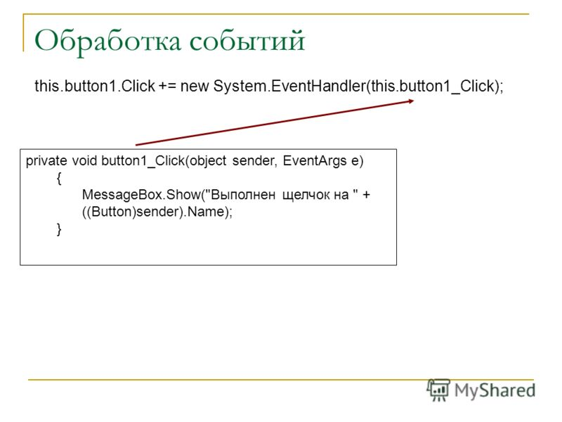 Обработка событий this.button1.Click += new System.EventHandler(this.button1_Click); private void button1_Click(object sender, EventArgs e) { MessageBox.Show(Выполнен щелчок на  + ((Button)sender).Name); }