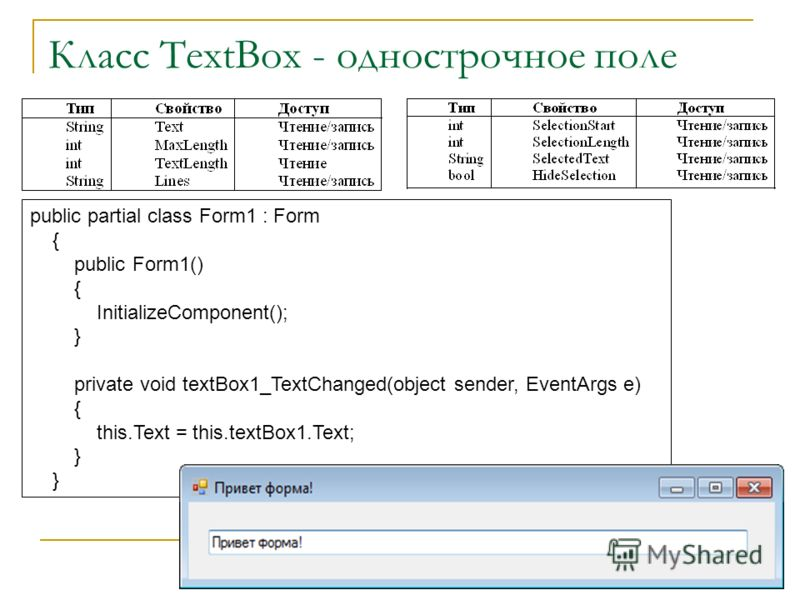 Класс TextBox - однострочное поле public partial class Form1 : Form { public Form1() { InitializeComponent(); } private void textBox1_TextChanged(object sender, EventArgs e) { this.Text = this.textBox1.Text; }
