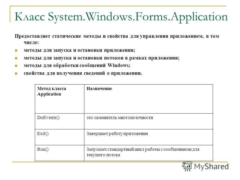 Класс System.Windows.Forms.Application Предоставляет статические методы и свойства для управления приложением, в том числе: методы для запуска и остановки приложения; методы для запуска и остановки потоков в рамках приложения; методы для обработки со