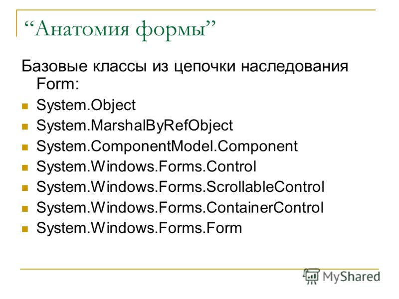 Анатомия формы Базовые классы из цепочки наследования Form: System.Object System.MarshalByRefObject System.ComponentModel.Component System.Windows.Forms.Control System.Windows.Forms.ScrollableControl System.Windows.Forms.ContainerControl System.Windo