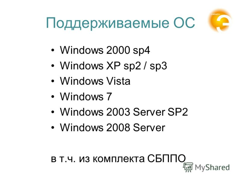 Поддерживаемые ОС Windows 2000 sp4 Windows XP sp2 / sp3 Windows Vista Windows 7 Windows 2003 Server SP2 Windows 2008 Server в т.ч. из комплекта СБППО