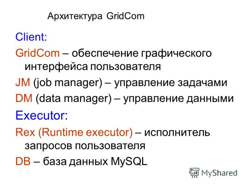 Архитектура GridCom Client: GridCom – обеспечение графического интерфейса пользователя JM (job manager) – управление задачами DM (data manager) – управление данными Executor: Rex (Runtime executor) – исполнитель запросов пользователя DB – база данных