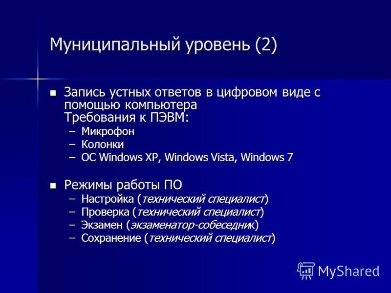 Муниципальный уровень (2) Запись устных ответов в цифровом виде с помощью компьютера Требования к ПЭВМ: Запись устных ответов в цифровом виде с помощью компьютера Требования к ПЭВМ: –Микрофон –Колонки –ОС Windows XP, Windows Vista, Windows 7 Режимы р