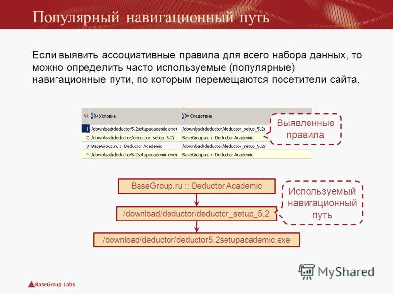 BaseGroup Labs Популярный навигационный путь Если выявить ассоциативные правила для всего набора данных, то можно определить часто используемые (популярные) навигационные пути, по которым перемещаются посетители сайта. /download/deductor/deductor_set