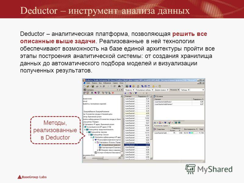 BaseGroup Labs Deductor – инструмент анализа данных Deductor – аналитическая платформа, позволяющая решить все описанные выше задачи. Реализованные в ней технологии обеспечивают возможность на базе единой архитектуры пройти все этапы построения анали