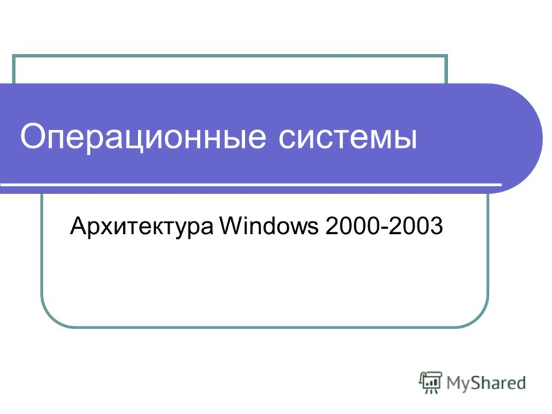 Операционные системы Архитектура Windows 2000-2003