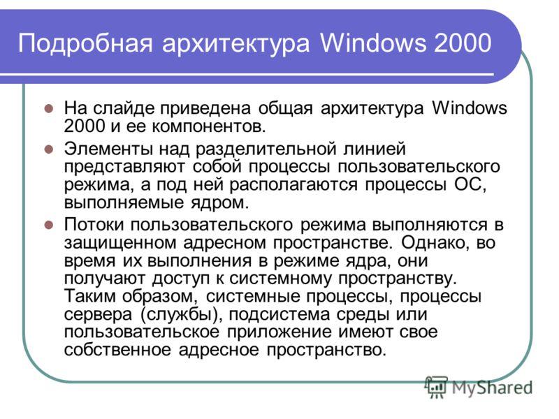 Подробная архитектура Windows 2000 На слайде приведена общая архитектура Windows 2000 и ее компонентов. Элементы над разделительной линией представляют собой процессы пользовательского режима, а под ней располагаются процессы ОС, выполняемые ядром. П