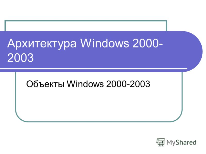 Архитектура Windows 2000- 2003 Объекты Windows 2000-2003