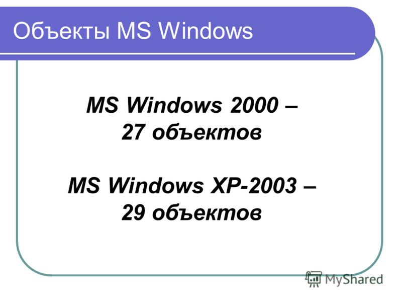 Объекты MS Windows MS Windows 2000 – 27 объектов MS Windows XP-2003 – 29 объектов