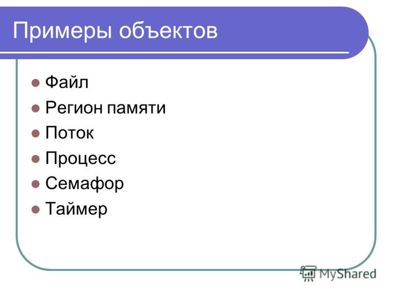 Примеры объектов Файл Регион памяти Поток Процесс Семафор Таймер