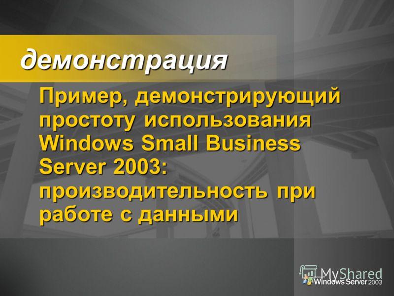 демонстрация демонстрация Пример, демонстрирующий простоту использования Windows Small Business Server 2003: производительность при работе с данными