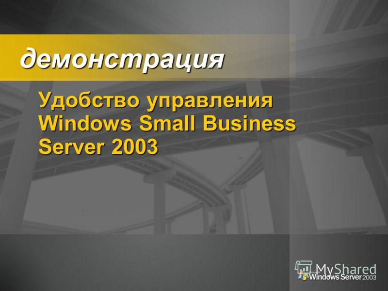 демонстрация демонстрация Удобство управления Windows Small Business Server 2003