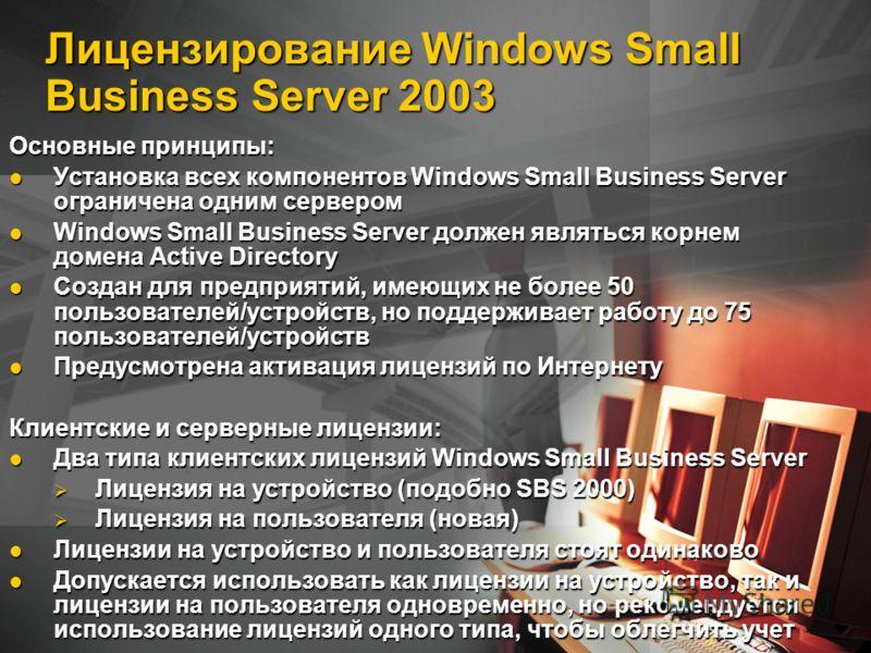 Лицензирование Windows Small Business Server 2003 Основные принципы: Установка всех компонентов Windows Small Business Server ограничена одним сервером Установка всех компонентов Windows Small Business Server ограничена одним сервером Windows Small B