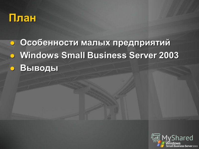 План Особенности малых предприятий Особенности малых предприятий Windows Small Business Server 2003 Windows Small Business Server 2003 Выводы Выводы